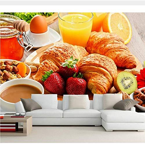 Meaosy Mural 3D Personalizado, Café Jugo Pan Fruta Papel Tapiz, Sala De Estar Tv Sofá Pared Cocina Restaurante-450X300Cm