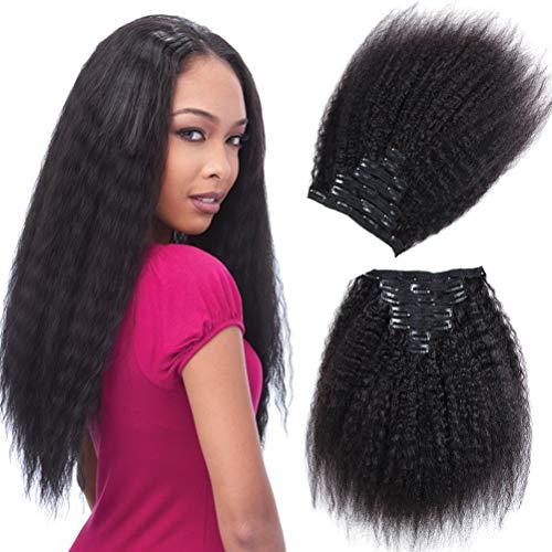 Alishow Hair Kinky Straight Clip In Human Hair Extensions Clip Ins Human Hair 8A Italian Coarse Yaki Brazilian Virgin Hair Clip In Extension 7pcs/lot,120gram/set (12