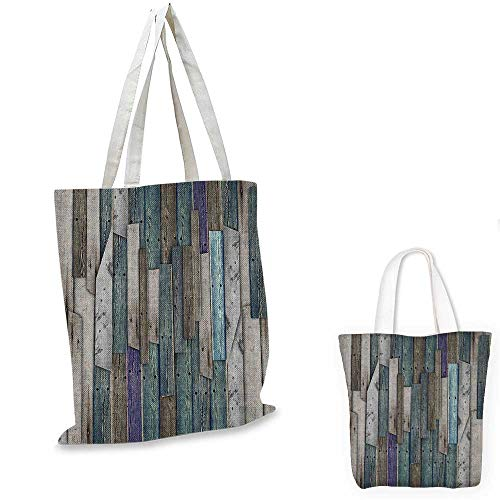 Wooden canvas shoulder bag Blue Grey Grunge Rustic Planks Barn House Wood and Nails Lodge Hardwood Graphic Print canvas lunch bag Teal Purple Grey. 15
