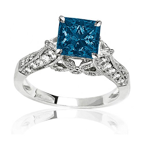 1.88 Carat t.w 14K White Gold Trillian And Round Diamond Engagment Ring w/ a 1 Carat Princess Cut Blue Diamond Heirloom Quality