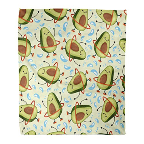 Golee Throw Blanket Avocado Pattern Cute Fruit Character Doing Exercises Hula Hoop Eating 50x60 Inches Warm Fuzzy Soft Blanket for Bed Sofa