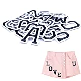 Letter Iron On Patches Sew On Appliques with Ironed Adhesive Black White Embroidered Decorative Repair Patches for Shoes Hat Bag Clothing(26PCS Alphabet Letters Set)