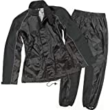 Joe Rocket RS-2 Women's 2-Piece Street Motorcycle Rain Suits - Black/Black / Medium