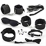 buttercupgoods childrens-party-favor-sets 7 Pcs/Set Nylon Tying Erotic Toys for Adults Sex Handcuffs + Nipple Clamps + Whip + Mouth Gag+ Sex Mask +BDSM Bondage Set 7 pcs Black