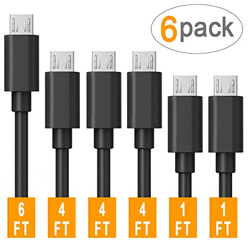 Micro USB Cable Android, Covery Family 6-Pack (2x1ft, 3x4ft, 1x6ft) USB to Micro USB Cables High Speed USB2.0 Sync and Charging Cables for Samsung, HTC, Motorola, Nokia, Kindle, MP3, Tablet and more (4 2 2 Camcorder)