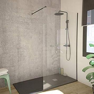 Mampara de ducha fija de cristal de 8 mm, perfil negro: Amazon.es ...