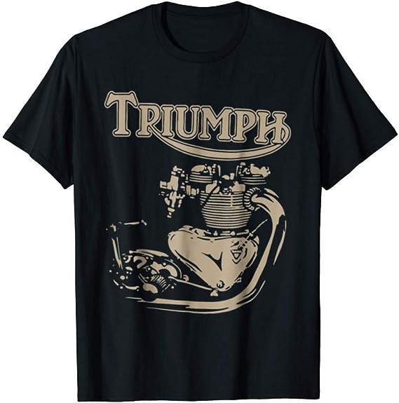 New Triumph Engine Motorcycle Cycling T-Shirt Black Cotton S-5XL