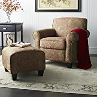 Arm Chair and Ottoman Set Made From Elegant Paisley Patterned Polyester Upholstery w/ Firm Yet Comfortable Overstuffed Cushioning. Modern / Contemporary Reading Chair For Living Room, Condo, or Study