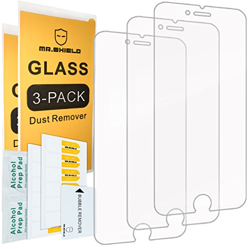 Electronics : [3-PACK]-Mr Shield For iPhone 6 / iPhone 6S [Tempered Glass] Screen Protector with Lifetime Replacement Warranty
