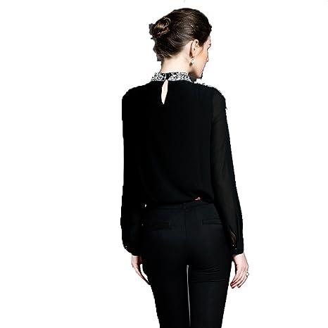 PINGMING Moda Europeas Y Americanas Nuevas Mujeres De La Camisa De Perlas Negro: Amazon.es: Ropa y accesorios