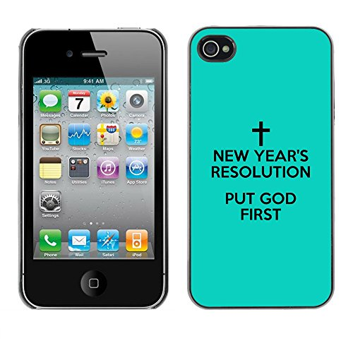 DREAMCASE Citation de Bible Coque de Protection Image Rigide Etui solide Housse T¨¦l¨¦phone Case Pour APPLE IPHONE 4 / 4S - PUT GOD FIRST