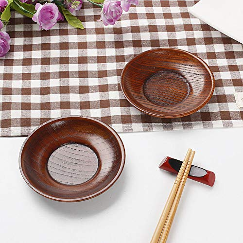 KathShop 10pcs/pack Eco-friendly Solid Wood Plates Korean Japanese Style Simple Natural Wood Dessert Dishes Creative Fashion Tableware