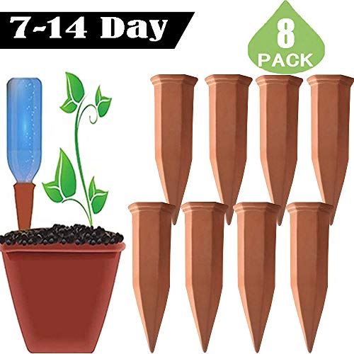 (BPDOD Plant Watering Spikes Self Irrigation System Automatic Watering Devices Nannies for Indoor&Outdoor Garden Vacation Dripping Slow Release Adjustable Switch (8, Terracotta))