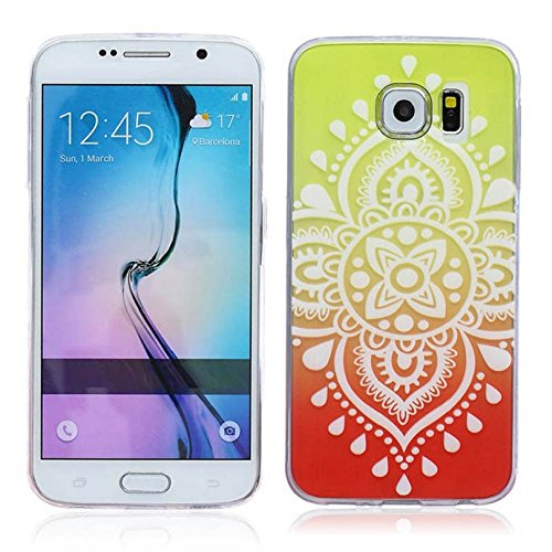 Towallmark(TM)for Samsung Galaxy S6 Case Water-drop Floral Pattern Carved TPU Case Cover (yellow+red)
