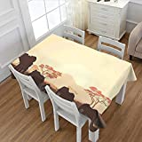 Africa Rectangular Tablecloth African Wildlife Safari Big Animal Elephants in Forest with Lake Nature Scene Oblong Wrinkle Resistant Tablecloth Pale Yellow Brown 52''x70''