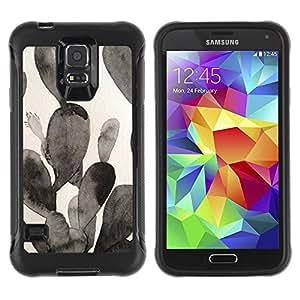 Suave TPU Caso Carcasa de Caucho Funda para Samsung Galaxy S5 SM-G900 / Painting Black White Watercolor / STRONG