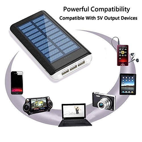 Solar Charger 24000mAh HuaF Power Bank Portable Charger Battery Pack With Dual Recharge Methods By Socket By Light For iPhone, iPad, Tablet, Samsung Galaxy, Android Phone And More by HuaF (Image #1)
