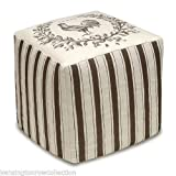 OTTOMANS - FRENCH COUNTRY ROOSTER UPHOLSTERED OTTOMAN - LINEN COVER - POUF