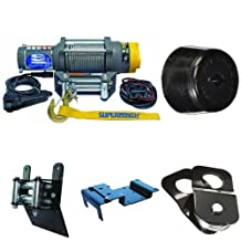 Superwinch 1145220 Terra 45 ATV & Utility Winch (4500lbs/2046kg Rating) + KFI Products ATV-CHS Winch Cable Hook Stopper + KFI Products ATV-SB Snatch Block + Superwinch 2202890 UTV Mounting Kit, Polaris + Superwinch 2202889 ATV Mounting Kit, Honda Bundle