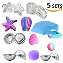 LAWOHO DIY Metal Bath Bomb Mold 5 Set 10 Pieces with 100 Pieces Shrink Wrap Bags and 1 Pieces Mini Heat Sealer for Crafting your own Fizzles