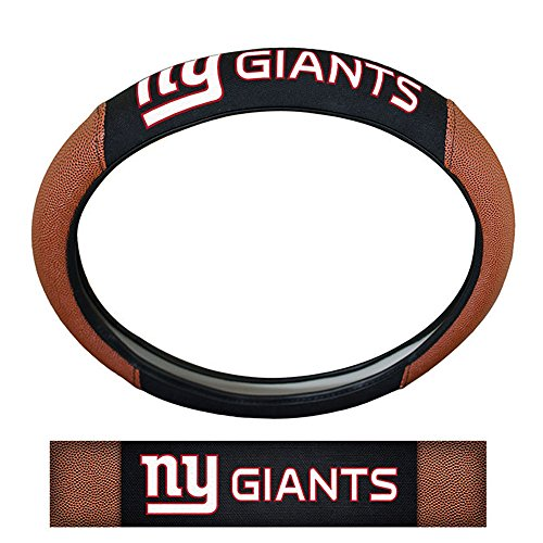 Premium Suede Cover (New York Giants NFL Team Logo Auto Car Truck SUV Vehicle Universal Fit Poly-Suede Mesh with Football Skin Premium Embroidered Steering Wheel Cover)