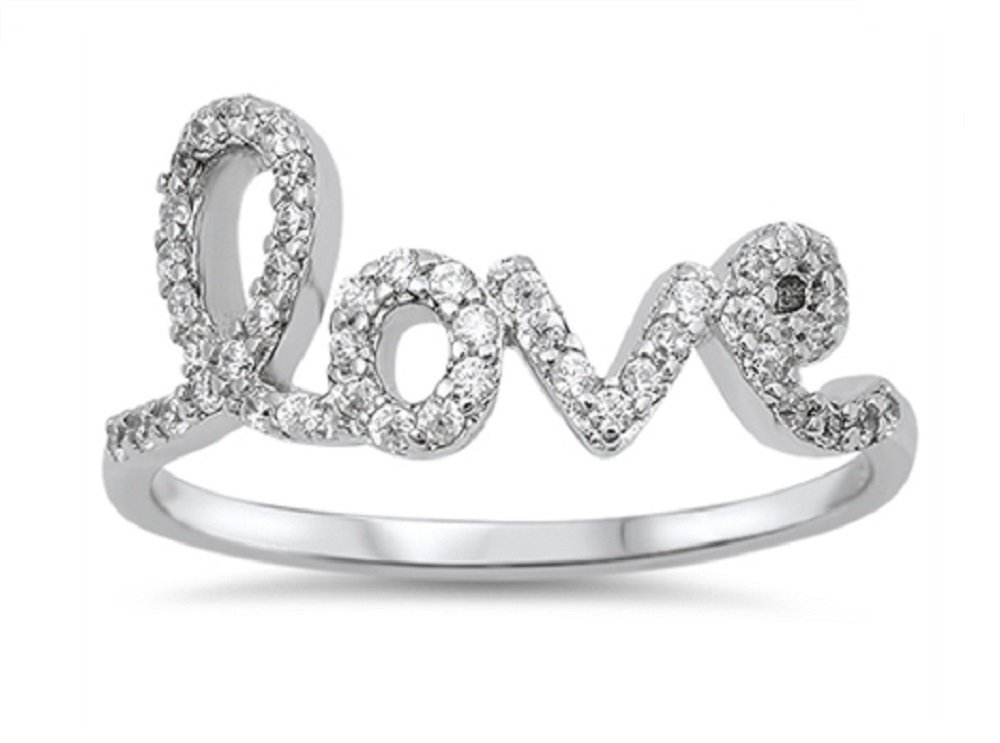 CloseoutWarehouse Cubic Zirconia Love in Script Ring Sterling Silver Size 9