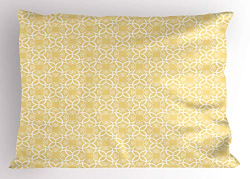 Ambesonne Yellow and White Pillow Sham, Ornate Floral Pattern with Swirls Curls Symmetrical Overlap Motifs, Decorative Standard Queen Size Printed Pillowcase, 30
