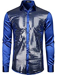 366e060c984 Mens Dress Shirt Silver Sequins Long Sleeve Button Down 70s Disco Shirt  Party Costume