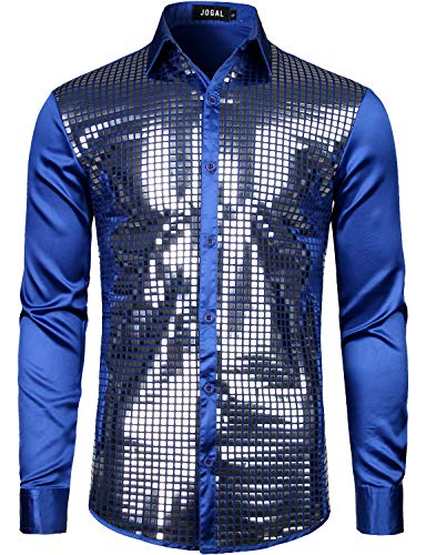 JOGAL Mens Dress Shirt Silver Sequins Long Sleeve Button Down 70s Disco Shirt Party Costume X-Large A348 RoyalBlue -