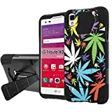 LG [Tribute HD] LS676 Defender Hybrid Case [SlickCandy] [Black/Black] Armor Shell & Impact Resistant [Kick Stand] [Shock Proof] - [Rainbow Marijuana Leaf] for LG [Tribute HD]