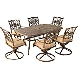 Hanover Traditions 7 Piece Dining Set with Six Swivel Chairs & A Large 72 x 38 Table, Natural Oat
