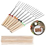 Geboor Marshmallow Roasting Sticks with 20 Bamboo Skewers Free Bag, Barbecue Stainless Steel Grill Sticks Extendable Forks for Campfire Firepit and Sausage BBQ
