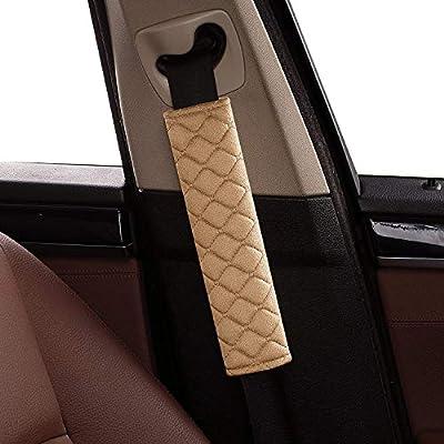 Daigtree 2pcs Seat Belt Covers, Soft Velvet Feel Car Belt Protector Shoulder Seatbelt Pad for Adults Youth Kids - Car, Truck, SUV, Airplane,Carmera Backpack Straps (Beige): Automotive