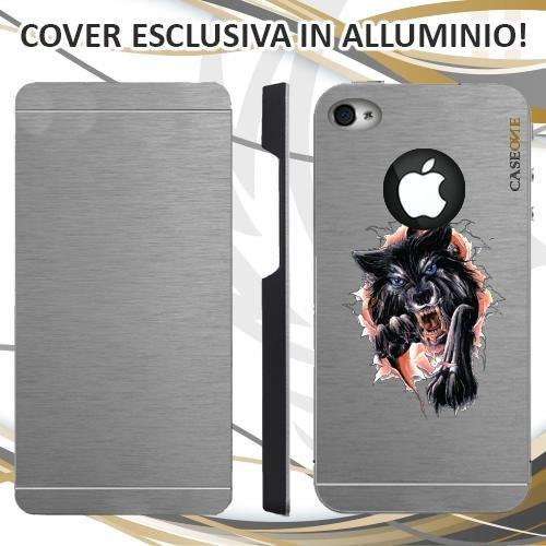 CUSTODIA COVER CASE GRAFFIO LUPO PER IPHONE 4S ALLUMINIO TRASPARENTE