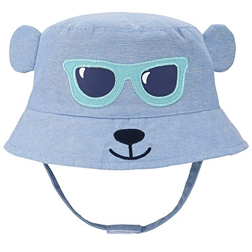 Baby Animal Sun Hat - Toddler Kids Boys Breathable Cartoon Summer Sun Protection Bucket Hat(Blue Monkey,50cm) ()