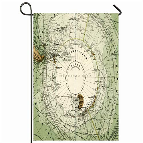 Ahawoso Outdoor Garden Flag 12x18 Inches Polar Earth Antartic Antique Stieler Map Antarctica Old South Vintage Patagonia World Area Atlas Seasonal Double Sides Home Decorative House Yard Sign