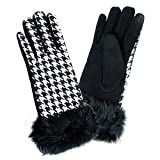 Me Plus Women's Winter Houndstooth Touch Screen Gloves One Size M/L (Black)