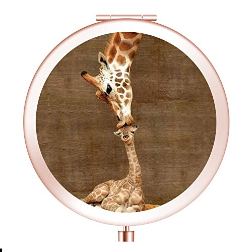 (FUTUROO Rounded Compact Mirror, Customized Round Foldable Metal Makeup Mirror, 1x&2x Magnification Mini Mirror for Travel Purse Gift - Rose Gold Giraffe)