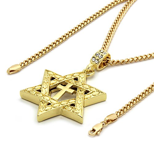 Mens 14k Gold Tone Star of David Cross Pendant 3mm 30 inches Cuban Necklace Chain