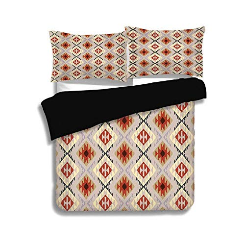 - SINOVAL Black Full Size,Native American,First Nations Indian Motifs in Traditional Tribal Pattern Ethnic Art,Multi, 3 Pcs Fashion Bedding Set with 2 Pillow Shams