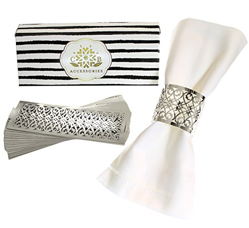 Premium Napkin Rings Set of 24 for Table Settings Decoration, Dinner Parties, Weddings, Special Events and Catering Services (Silver, 24 pieces) (Banquet Decorating Table Ideas)