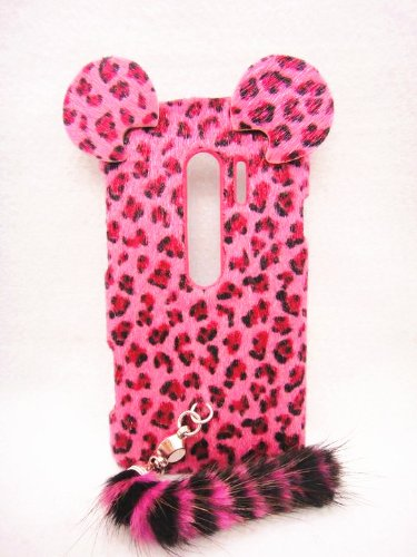 3D ear pink Leopard with tail Fur Plush cute Case Cover Shell skin for Samsung Galaxy Mobile LG huawei Motorola Cell Phone 1 (HTC G17/EVO 3D HTC EVO V 4G 3D (Virgin Mobile), ROSE) (Htc Evo V 4g Case Virgin Mobile)