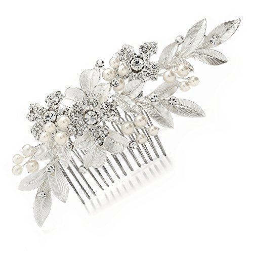 Mariell Couture Bridal Hair Comb with Hand Painted Leaves, Pave Crystal & (Couture Hair)