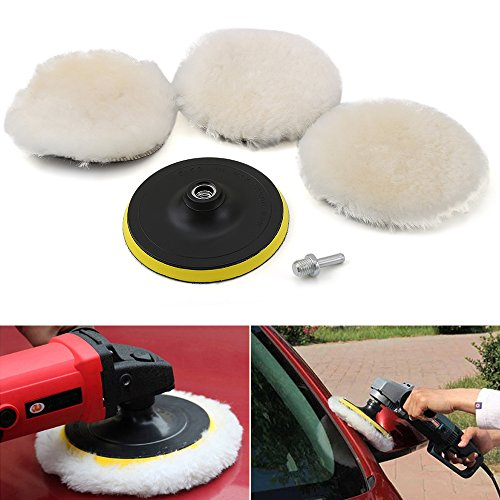 5 Pcs 6 Inch Polishing Buffer Wool and Velcro Wheel Polishing Pad Woolen Polishing Waxing Pads Kits with M14 Drill Adapter (Polishing Buffer)