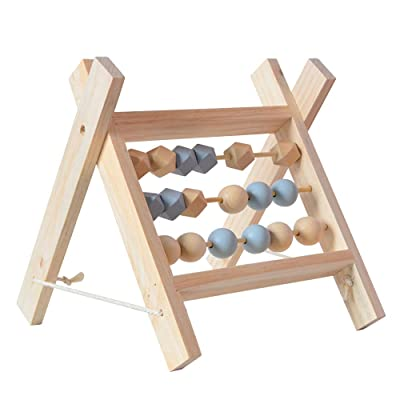 Beher Wooden 3 Rows Abacus Educational Toy Learning Abacus Toy Math Manipulatives Numbers Toys with Geometry Beads for Toddlers Preschool Boys and Girls 2 Year Olds and Up: Toys & Games [5Bkhe0202076]