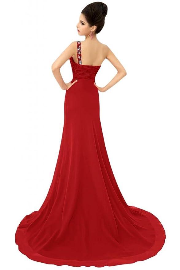 Vestir con lazo y pedrería para Sunvary sandalias planas con sujeción en un a-Line de vestidos gasa de Fiesta de hombro para novia de la madre: Amazon.es: ...