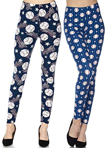 2 Pack Womens Premium Ultra Soft Fashion Leggings (Americas Game Baseball Leggings, One Size (S-L / 2-12))