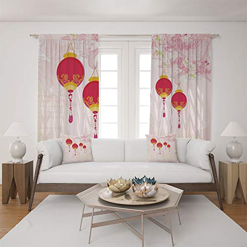 Clear Calendar Case Fold - 2 Panel Set Satin Window Drapes Living Room Curtains and 2 Pillowcases,Calendar Celebrations Eastern Imagery Abstract,The perfect combination of curtains and pillows makes your living room warmer