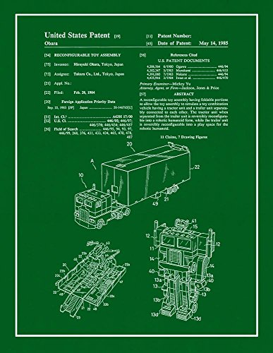 Transformers Optimus Prime Patent Print Green with Border  M