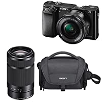 Sony a6000 24.3 MP Mirrorless Camera with 16-50mm & 55-210mm Lens Bundle